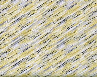Striking Gray, Yellow, White & Black Diagonal Stripe 100% Cotton Quilt Fabric, Marbella by Quilter's Palette, Fat Quarter, QUP12636-GRAY
