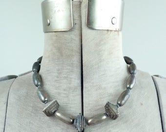 Vintage Frida Kahlo Style Sterling Silver Choker Necklace-Original 1940's-1950's Boho Jewelry