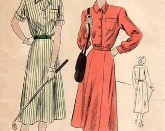 1940s Womens Shirtwaist Pattern - Vintage Vogue 6135 - Bust 44 or 46