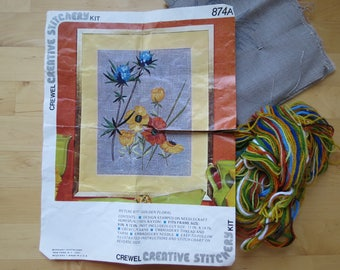 1970s Vintage Crewel Embroidery Kit by Creative Stitchery - Golden Floral