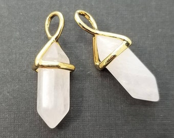 2 pc, 24x9mm, Pink Rock Crystal Spike Pendant Charm, Gold Plated - PC-0215