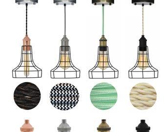Flare Cage Edison Antique Pendant Lighting Hanging Ceiling Fixture Industrial Lighting Black Lamp Guard Hangout Lighting
