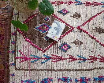 Vintage Moroccan Rug / Azilal Rug / Moroccan Carpet / Pink Moroccan Rug / Boucherouite Rug / Nursery Rug / Berber Rug / FREE US SHIPPING