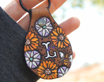 Custom initial leather key ring - Sundaisy - hand painted and hand stamped Sunflowers and Daisies - Your Choice of Initial and hardware
