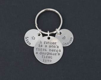 Father Son's First Hero Daughter's First Love • Daddy Gift Dad Keychain • Father Quote Papa Gift • Father Birthday Dad Quote