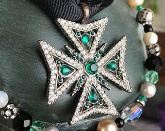 emerald cross - rhinestone maltese necklace black ribbon vintage eiffel tower green glass beads catholic religious paris france french