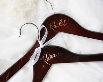 Custom Personalized Calligraphy Dark Wooden Wedding Dress Hanger in Mahogany Finish