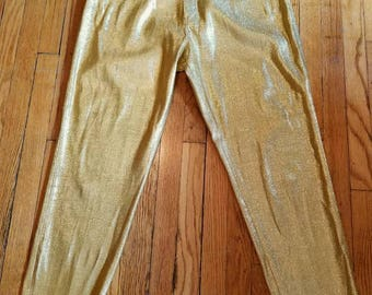 Vintage 60s gold lurex Levi's California ranchwear pants rare stretch metallic high waist tapered legs large rockabilly viva burlesque