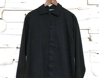 Vintage European Work Jacket Black Chore Coat with Inside Pocket - Large