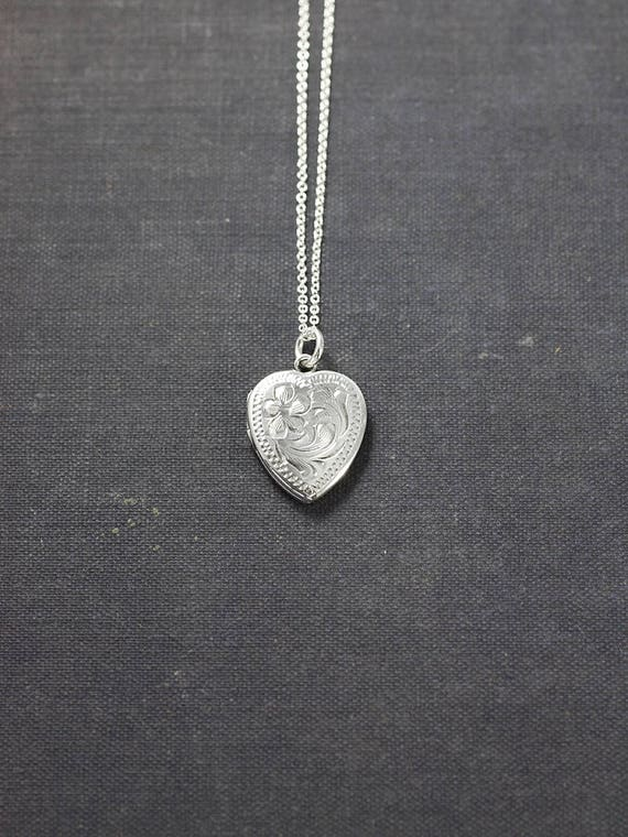 Small Sterling Silver Heart Locket Necklace, Flat Heart Photo Pendant - Tiny Love Pendant