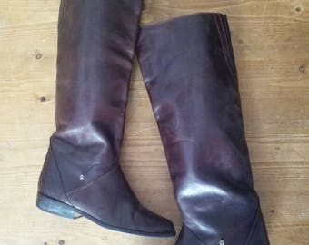 Amazing  Vintage 1980s Designer AIGNER Bohemian Hippie Leather Brown Knee High Riding Boots
