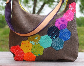 Design Your Own Custom Made Hobo Bag with Shoulder or Adjustable Cross-Body Strap with Hexagon Rainbow