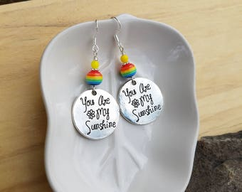You Are My Sunshine Earrings, Rainbow You Are My Sunshine Sterling Silver Earrings, My Sunshine Earrings, Rainbow Sunshine Sterling Earrings
