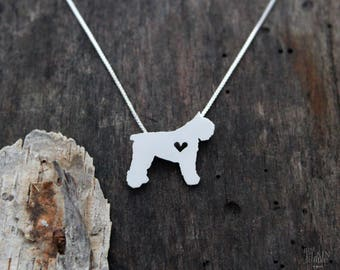 Bouvier des Flanders necklace, tiny sterling silver hand cut dog pendant with heart