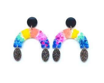Laser Cut Earrings Acrylic Earring Statement Earrings Arch Earrings Rainbow Earrings Resin Earrings Laser Cut Jewelry Glitter Earrings