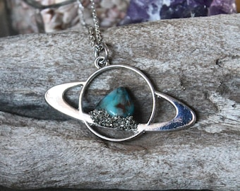 Chrysocolla Saturn Necklace, Celestial Jewelry, Galaxy, Outer Space Necklace, Wiccan Jewelry, Boho Pendant, Festival Fashion Planet Jewelry