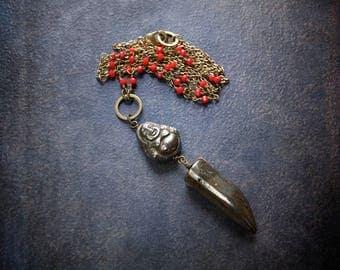 Pyrite Buddha Necklace Boho Antique Brass Red Crystal Rosary Chain Vintage Festival Yoga Zen Gypset Long Modern Talon Horn