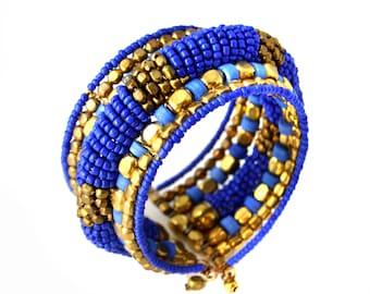 Blue GOLD beaded Cuff bracelet,chunky Bracelet,Bohemian,Statement Womens bracelet ,Gift for her,Birthday gift by Taneesi