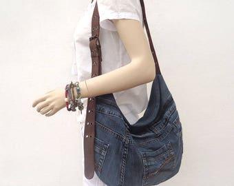 Denim bag slouchy hobo purse cross body recycled up-cycled dark denim