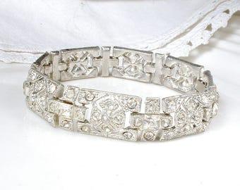 Antique French Paste Art Deco Bracelet, 1930's Pave Rhinestone WIDE Link Statement Silver 1930s Gatsby Flapper Bridal Vintage Wedding