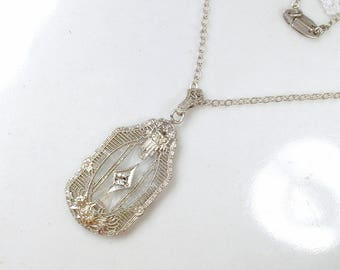 Antique PLATINUM Art Nouveau Camphor Glass Pendant Necklace,STERLING Silver Edwardian/Art Deco Rhinestone Bridal, 1910 1920 Vintage Wedding