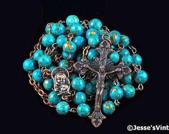 Catholic Rosary Beads Rustic Blue Mosaic Turquoise Copper Natural Stone Traditional Five Decade