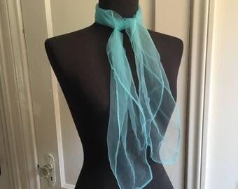 Vintage Sheer Nylon Scarf, Aqua Blue Chiffon Scarf, 50's 60's Style, Rockabilly, Pin Up, Head Scarf, Neck Scarf, Hair Scarf