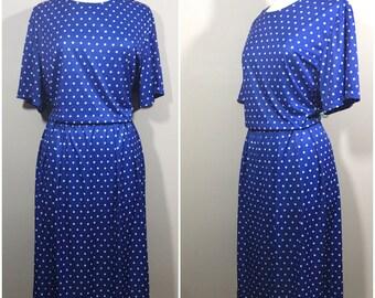 Plus Size Blue and White polkadot Dress // Anthony Richards Vintage size 22 Dress