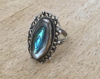 Vintage Sterling Silver Abalone Ring Size 6