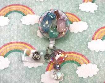 Bling Rhinestone Gemstone Glam Beaded Dangle Heart Glass Resin Charm Fairy Kei Badge Reel Retractable ID Holder Nurse CNA RN Technician CPhT