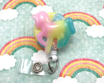 Unicorn Bling Cute Kawai Fairy Kei Retractable Badge Reel ID Holder RN Cna Pediatric Nurse Nursing Fairytale Horse Rainbow  CPhT