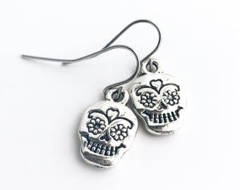 Sugar Skull Earrings / Silver Day of the Dead Silver Earrings Dia de los Muertos Skull Lover Gift for Her for Women Small Sugar Skulls Boho
