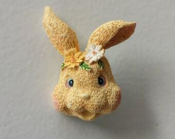 Vintage Bunny Rabbit, Easter Rabbit Resin Pin Brooch