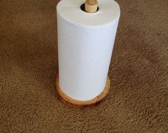 Rustic Log Paper Towel Holder Countertop (Clear Finish) - Hand Crafted Rustic Cabin Kitchen Decor or Cottage Chic