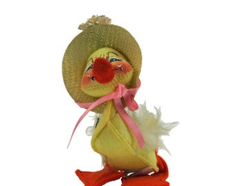 Vintage AnnaLee Baby Yellow Duck Ducky Cloth Doll with Straw Hat Art Doll 1982
