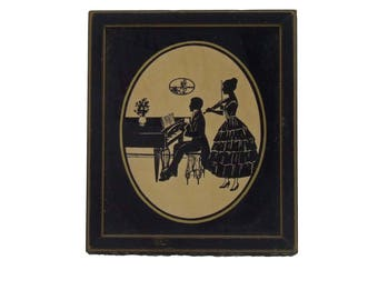 Vintage Silhouette Under Glass in Frame Piano and Violin Player in 18th Century Period Dress