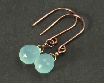 Aqua blue chalcedony earrings. Rose goldjewelry. Wire wrapped. Seafoam blue. Light teal blue. Free shipping.