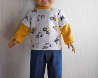 "18"" Boy Doll Truck Shirt with Denim Jeans for American Girl Type Dolls"