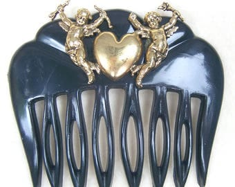 Celluloid hair comb Retro hair comb figural cherubs heart hair accessory hair slide hair clip hair ornament hair jewellery (AAF)