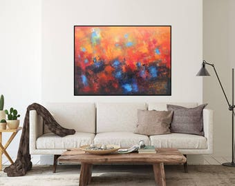 """horizontal over the sofa painting original oil on canvas abstract art 40""""x30"""" XL painting home decor red navy blue brown black one of a kind"""