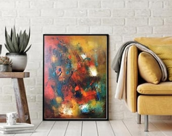 Oil on canvas abstract 18x24 prints from original giclee canvas paper posters abstract art, teal blue mustard yellow modern wall canvas