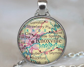 Knoxville, Tennessee map pendant, Knoxville map necklace Knoxville pendant map jewelry, keychain key chain key ring key fob