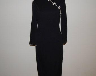 80s Black Knit Chinese Cheongsam Dress Bust 34 waist 28 hip 34