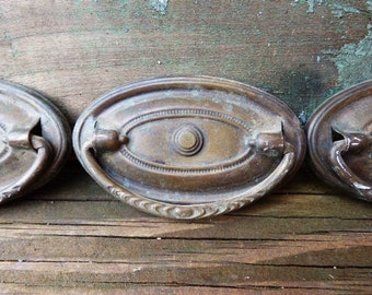 4 antique hardware drawer pull ornate oval ring pull victorian handle salvage furniture cabinet restoration