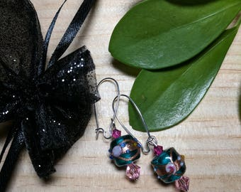 Pretty in Pink floral dangles
