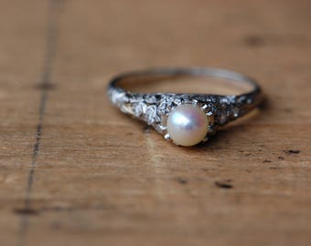 Antique Edwardian/Art Deco 1920s platinum diamond and cultured pearl anniversary ring