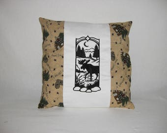 Lodge Wild Wood Moose Silhouette Embroidered Pillow, Lodge or Cabin Decor, Decorative Pillow, Housewares, Home Decor, Novelty Pillow