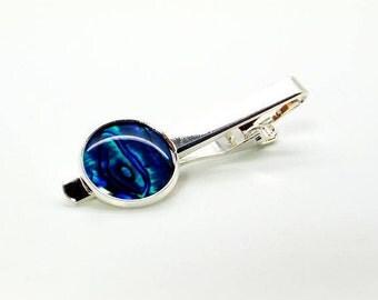 So Blue Paua Shell Tie Clip – Blue Pearl Tie Clip – Deep Blue Paua Shell Tie Bar