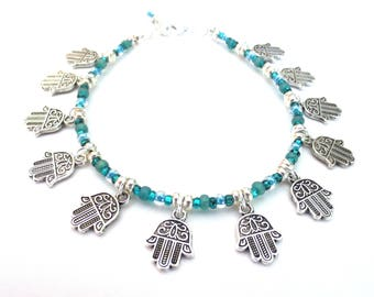 Blue Green Hamsa Anklet/ Silver Beading and Teal Czech Glass/Hand of Fatima Charms/10 Inch Anklet/Adjustable Anklet/Beautiful Dangles