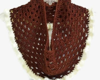 Crochet Infinity Scarf Brown White Cream Color Cowl Neck Warmer Ruffled Edge Large Plus Size, Lacey Knit Scarf